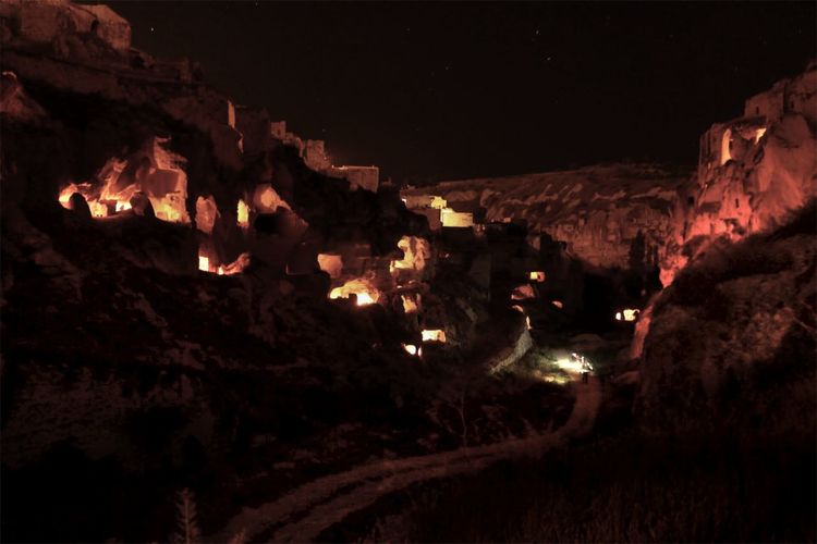 Cappadox cave lighting Lighting Art Adventure Cappadocia/Turkey Caves Night No People Nature Illuminated Outdoors Tree Heat - Temperature Mountain Beauty In Nature Glowing Rock Sky Fire Burning Fire - Natural Phenomenon Environment Flame Dark Land EyeEmNewHere HUAWEI Photo Award: After Dark