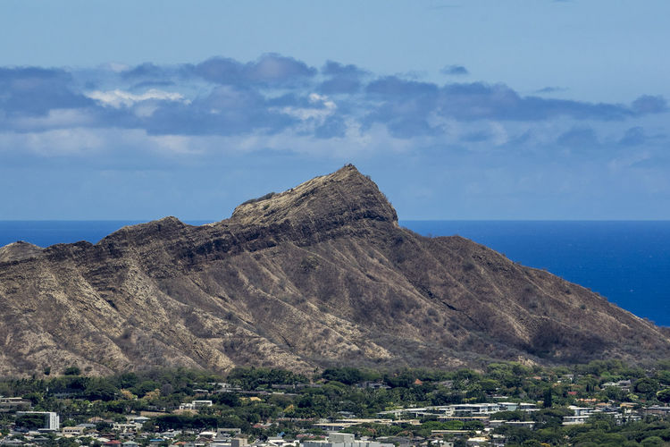 Sky Scenics - Nature Beauty In Nature Mountain Tranquil Scene Sea Water Nature Day Horizon Tranquility Horizon Over Water Cloud - Sky Rock No People Non-urban Scene Rock Formation Land Rock - Object Outdoors Formation Diamond Head Oahu