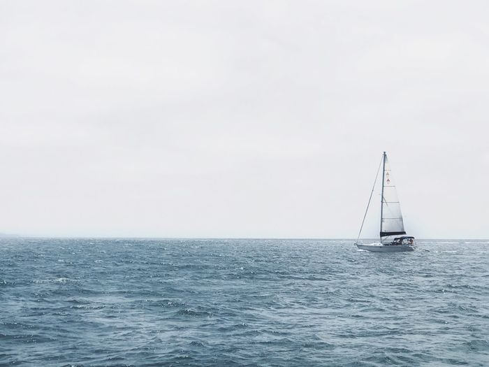 Sea Water Horizon Over Water Copy Space Tranquil Scene Nature Scenics Waterfront Sailboat Transportation Beauty In Nature Tranquility Sailing Mode Of Transport Nautical Vessel Outdoors No People Sky Mast Day Fluidity Solitude Solitary California Dreamin