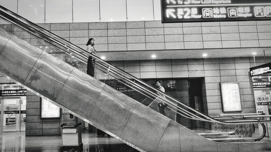 Elevator People Shanghai,China China Airport Steps And Staircases Steps Staircase Railing Architecture Built Structure Emergency Exit Stairs