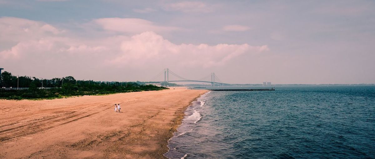 Verrazano Love Love Beach Water City Cloud Tourism Cloud - Sky Blue Bridge Sky Fujifilm New York City New York Beachphotography Sand Sun Sunny Day Travel Summer Relaxing Weather Day Ocean Shore Coastline