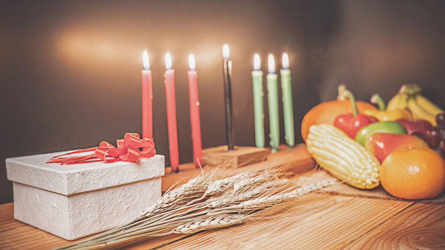 Close-up of candles on table