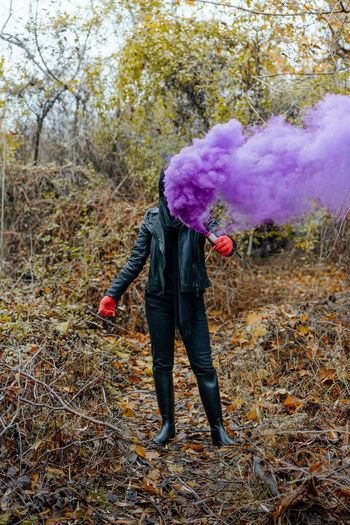 Nature People Smoke Smoke - Physical Structure Smoke Bomb Smokebomb Purple Full Length Standing One Person One Woman Only Women Fall Field Posing Leaves