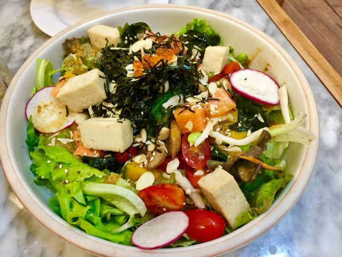 Tofu salad Food And Drink Food Healthy Eating Vegetable Bowl Wellbeing Ready-to-eat Asian Food Serving Size High Angle View Table Close-up Vegetarian Food Indoors  Soup Freshness Still Life No People Directly Above Pasta