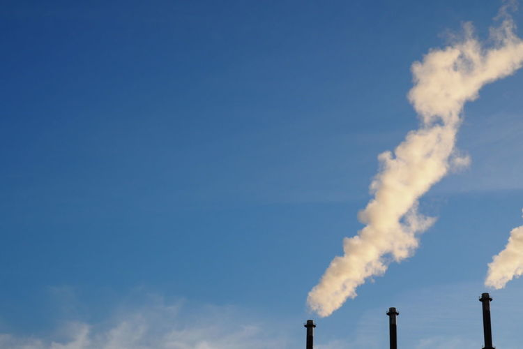 Blue Sky Chimneys Environment Environmental Conservation Fossil Energy Industrial Industrial Landscapes Outdoors Pollution Sky Smoke Steam Vapors