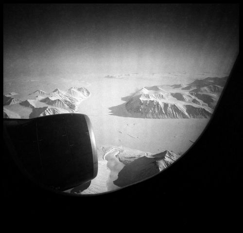 The end of the world Analogue Photography Arctic Arctica Black And White Climate Change Flight Glacier Grain Greenland Lomography Mountains Nature No People Northpole Plane Plane Window Polar Flight Snow And Ice  Trip Turbine Window Wings Winterland