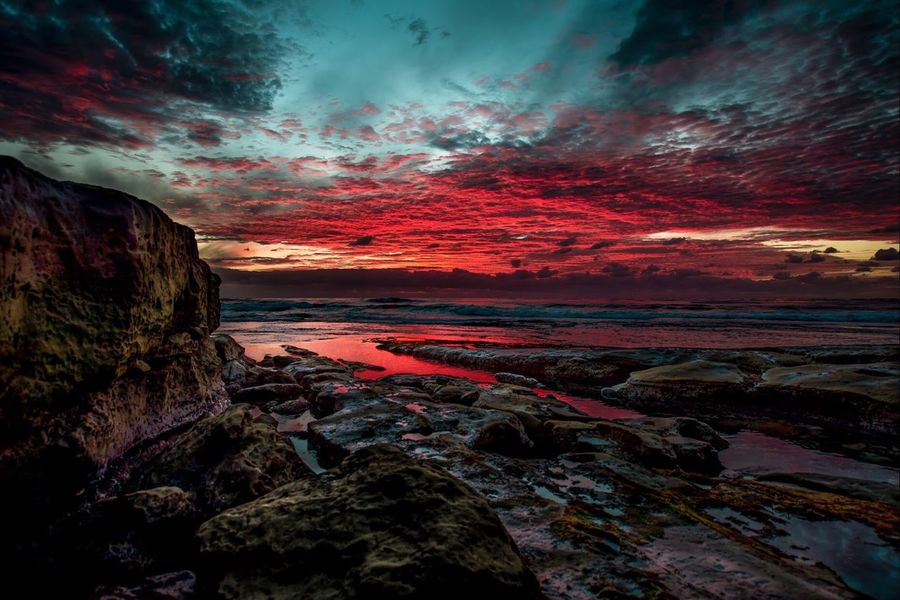 """Scarlet Fever"" A feverishly red sunset - La Jolla, CA Sunset Tranquility Red Scarlet Fever San Diego La Jolla Seascape Paul W Koester Photography Artist Perspective"
