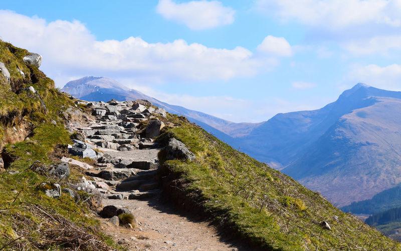 EyeEmNewHere Ben Nevis Hiking Scotland View Beauty In Nature Cloud - Sky Hiking Trail Landscape Mountain Mountain Peak Mountain Range Outdoors Rock Scenics - Nature Up