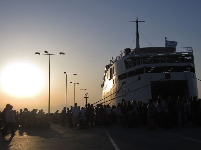 Embarque Ferry Greece Holiday Pireaus Port Sunrise