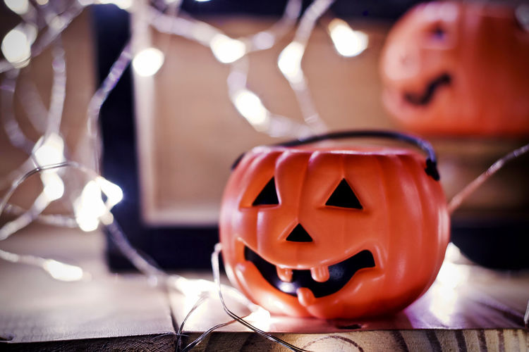 Close-up of illuminated halloween pumpkin