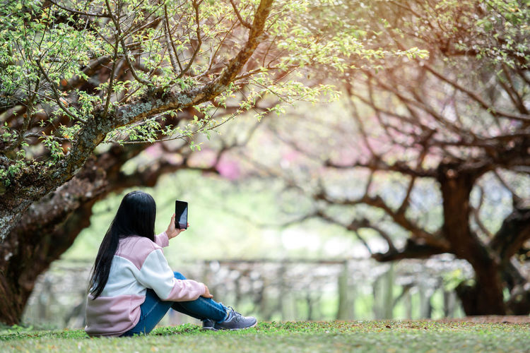 Asian woman traveler take selfie in the garden. travel winter Plant Tree One Person Real People Technology Leisure Activity Casual Clothing Lifestyles Sitting Wireless Technology Full Length Nature Day Communication Young Adult Focus On Foreground Mobile Phone Connection Outdoors Travel Garden Selfie Smart Phone Internet Social