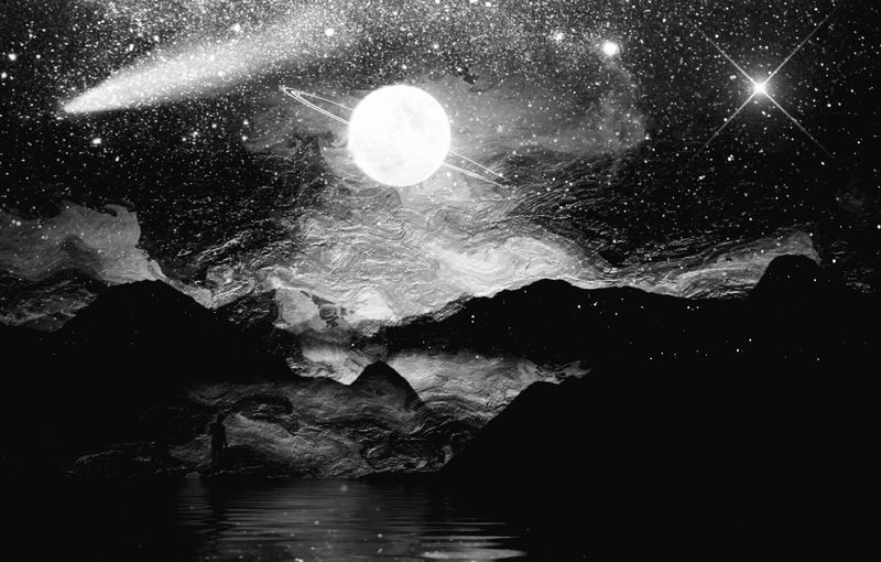 planète Mars 2219, variation BW4 Mission Control Terraformation Monochromatic Astronomy Galaxy Space Star - Space Water Milky Way Constellation Illuminated Reflection Sea