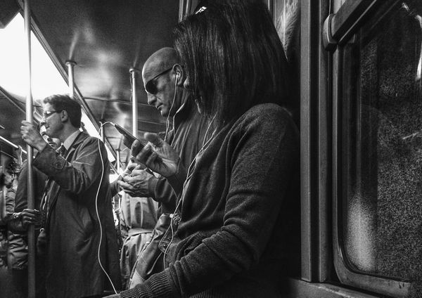 Listen | iPhone 5S ProCamera | edited with Snapseed//Filterstorm neue apps Youmobile Notes From The Underground AMPt_community Blackandwhite Black & White Subway
