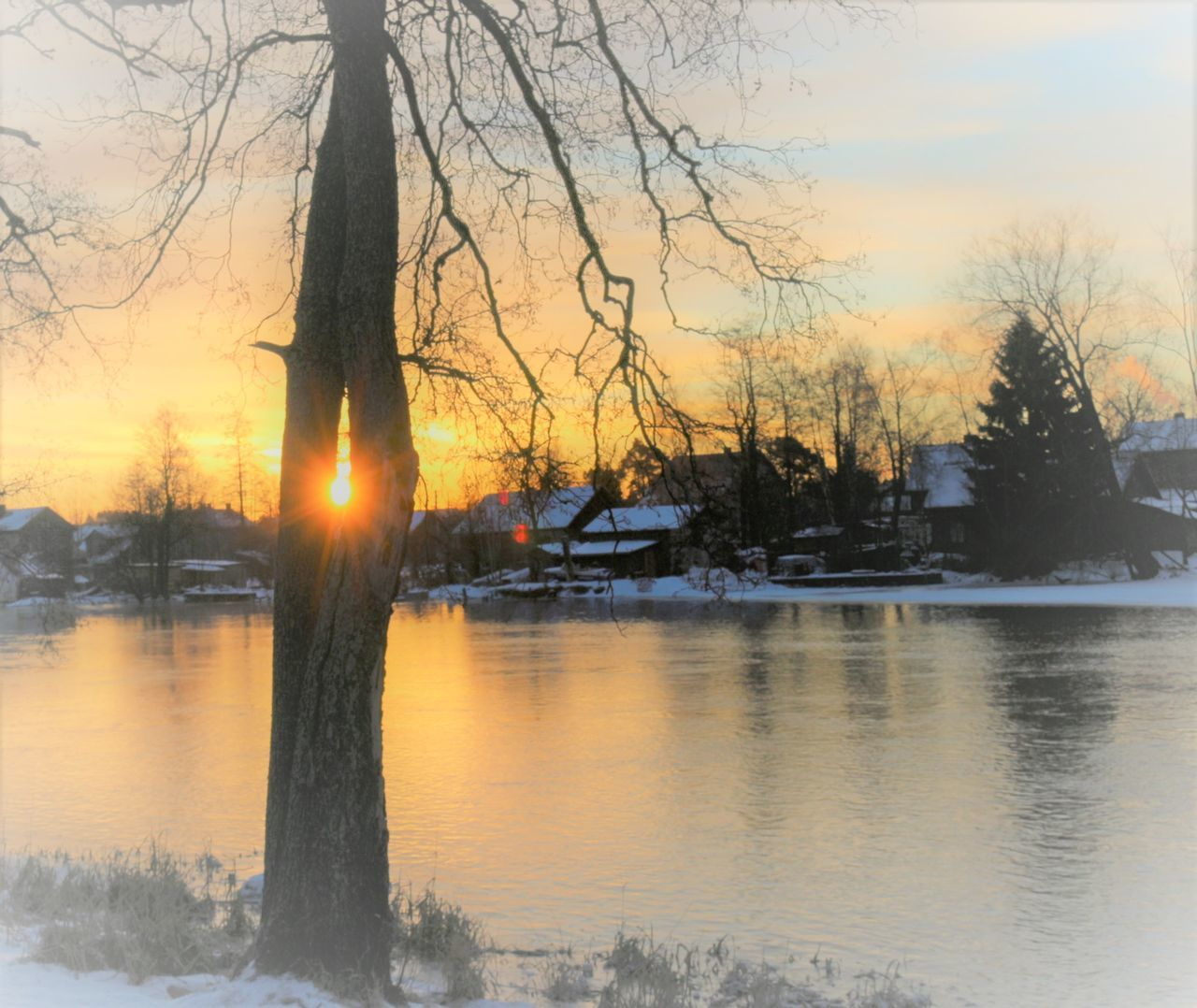 sunset, tree, beauty in nature, nature, scenics, tranquil scene, tranquility, no people, water, winter, sky, cold temperature, silhouette, outdoors, lake, bare tree, snow, day