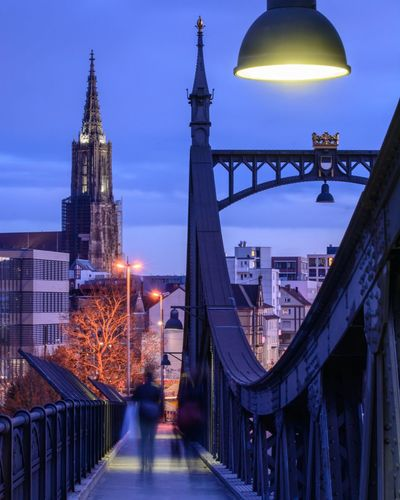 Ulm, BW, Germany EyeEm Selects EyeEm Ready   Bridge - Man Made Structure Illuminated Night Travel Destinations Architecture Winter Connection City Built Structure Cityscape Outdoors Urban Skyline Sky No People Building Exterior Real People Blurred Motion Walking