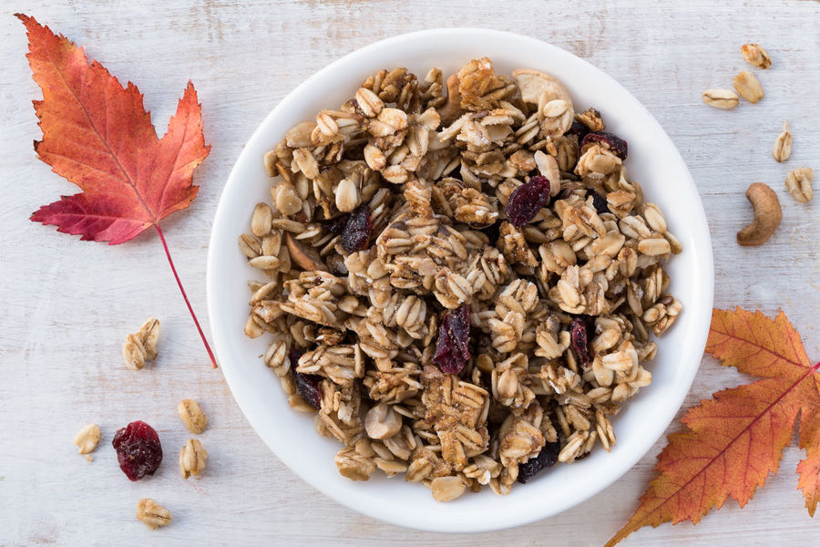 Cranberry Cashew Granola Gluten Free Isolated Bowl Breakfast Cashew Close-up Cranberry Directly Above Food Granola High Angle View No People Trail Mix