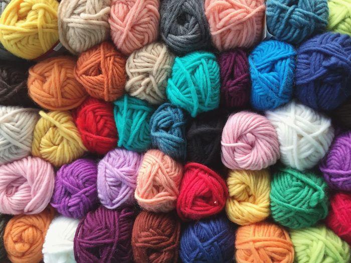 Full Frame Shot Of Multi Colored Wool Balls In Market