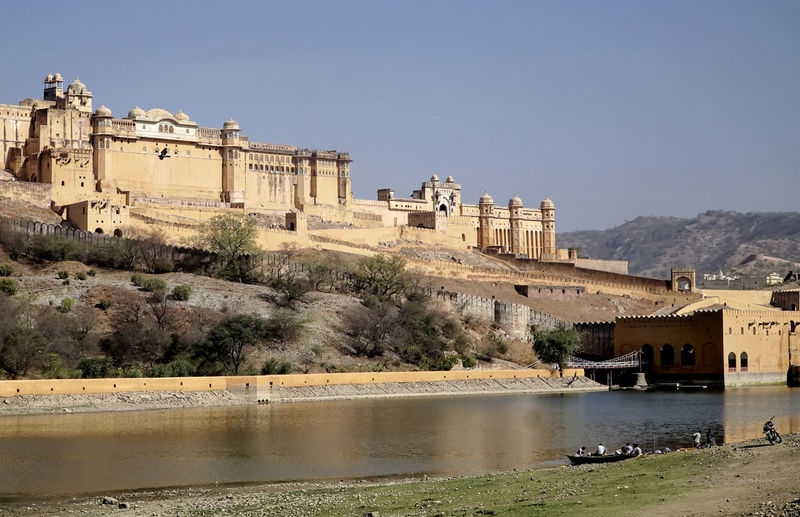 Amber Fort, Jaipur Fort, Castle, India, Jaipur, Amber Fort, Old Fort, Mughla, Mughal Fort Ancient Architecture Building Exterior Built Structure Castle Clear Sky Day Fort History Mountain Nature No People Old Ruin Outdoors Sky Sunlight Travel Travel Destinations Tree Water