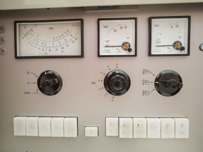 Vintage Instrument Panel Technology Control Control Panel Electricity  Text Close-up Indoors  Equipment No People Fuel And Power Generation Communication Gauge Machinery Meter - Instrument Of Measurement Power Supply Number Western Script Industry Instrument Of Measurement Metal