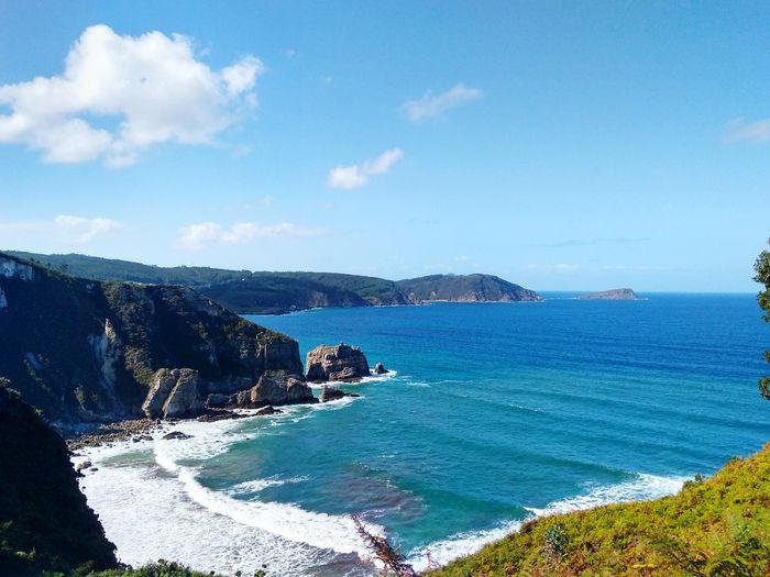 Cantabric Sea Mar Cantabrico Galicia Water Sea Wave Beach Blue Mountain Sky Horizon Over Water Cloud - Sky Rocky Coastline Seascape