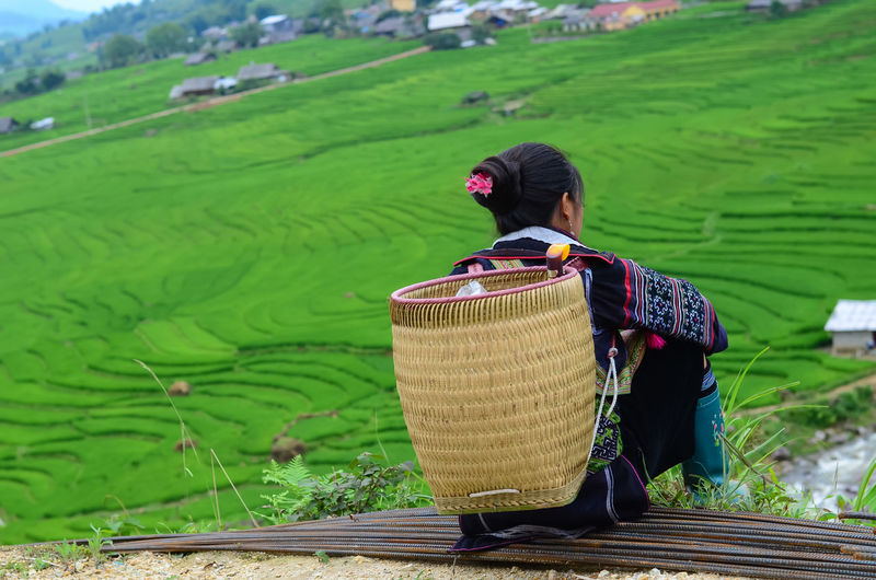 Green Color One Person Basket Real People Landscape Container Land Day Field Rural Scene Nature Clothing Adult Agriculture Focus On Foreground Farm Environment Beauty In Nature Hat Farmer Outdoors Tea Crop