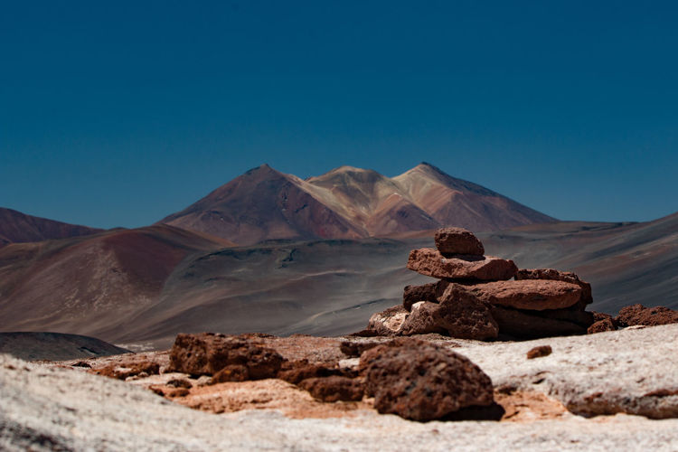 Scenic View Of Desert Against Blue Sky In Chile