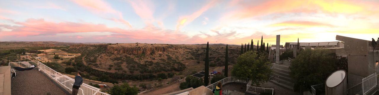 EyeEm Selects Sky Architecture Built Structure No People Outdoors Nature Scenics Mountain Arizona Arid Landscape Desert Arcosanti Sunset Cloud - Sky Beauty In Nature