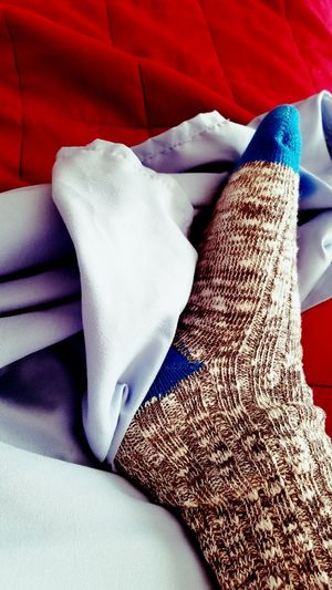 Socks in Bed Sock Socks Sheets Bed Heart Red Gray Foot Textures And Colors Color One Person Podiatry Podiatrist Warm