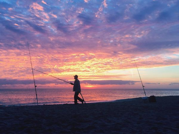 Check This Out Sunrise - Dawn Its All Good🌞 Masterclass Sunrise Collection Sunrise Fisherman Check This Out Sea Beach Water Nature Beauty In Nature Real People Horizon Over Water Scenics Cloud - Sky Silhouette Fishing Pole