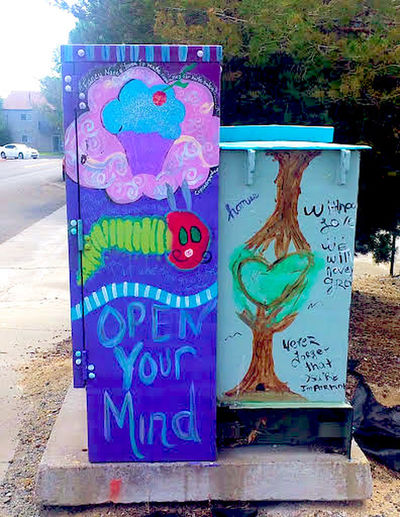 Close-up Day Graffiti Art Multi Colored No People Outdoors Text Tree Utility Box