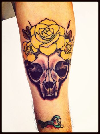 New Ink Tattoo Cat Skull Flowers
