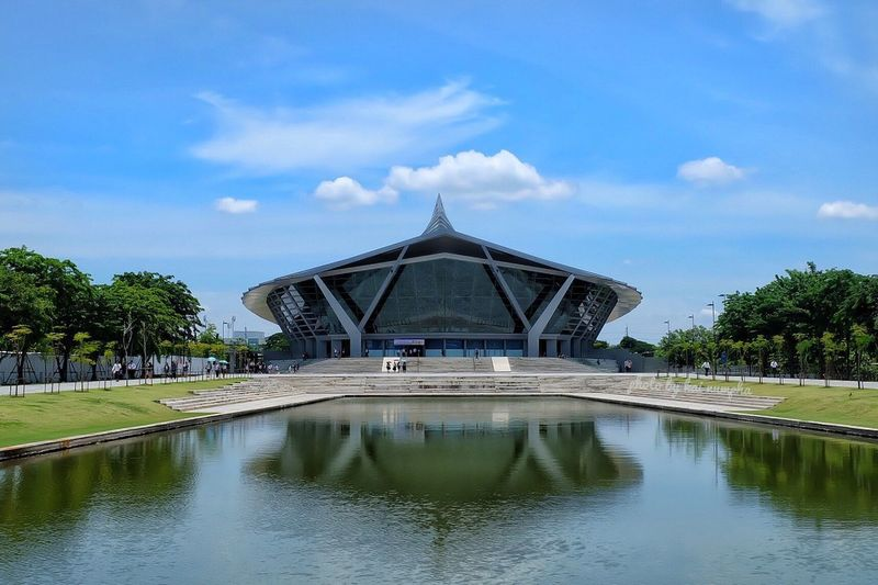 Prince mahidol hall Architecture Built Structure Cloud - Sky Water Sky Building Exterior Day Reflection Waterfront Gazebo Religion Travel Destinations Outdoors Tree Place Of Worship No People Nature Mahidol University