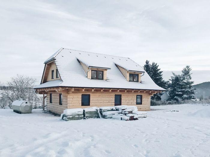 Houses on snow field against sky