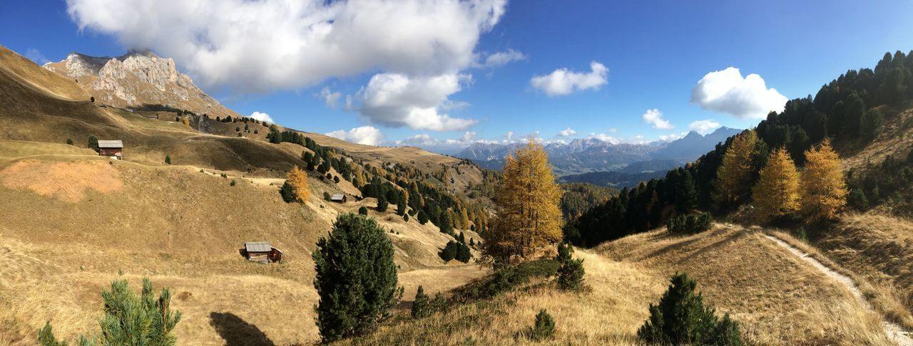 panoramic landscape in Parco Natutale Puez Odle in Sankt Martin in Thurn Beauty In Nature Blue Cloud - Sky Day Landscape Mountain Mountain Range Nature No People Outdoors Panoramic Puez-odle Scenics Sky South Tyrol Tranquility Tree