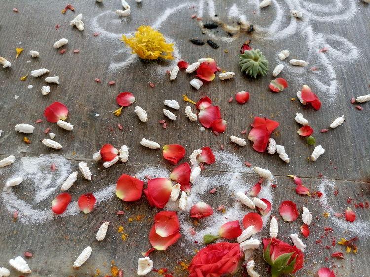 Rose Petals Flowers Rangoli Red Yellow Flower Prasadam The Street Photographer - 2016 EyeEm Awards Sony Xperia M5 Tiled Floor Fine Art Photography Colour Of Life Art Is Everywhere Cut And Paste