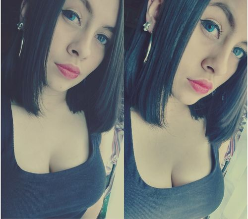 New Look <3 EyeEm Germany Blue Eyes Beautiful ♥ Beautiful Girl Hello World Rockgirl Popular Photos First Eyeem Photo Blackhair Hello World ✌ Eyes Short Hair Girl Black Shirt Blackshirt