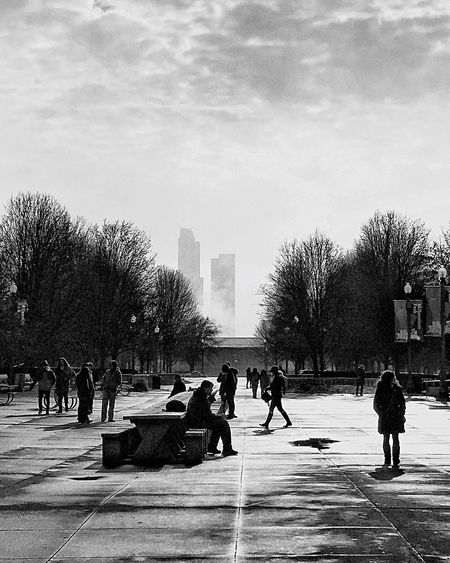 Colorless city 🔘🔘🔘🔘but always so pretty Urban Landscape Urban Geometry Cold Temperature EyeEm EyeEmNewHere Black And White Photography Architecture_collection People Winter City Group Of People Architecture Tree Building Exterior Street Real People