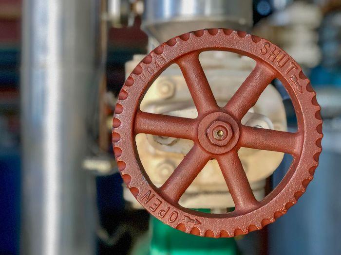 Close-up of machine valve