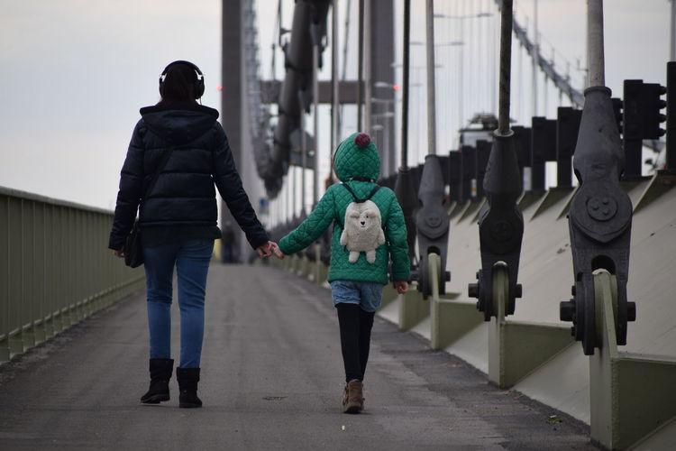 Bridge Day Full Length Girls Hand In Hand Humber Bridge Mother And Daughter Outside People Real People Structure Togetherness Walking Warm Clothing