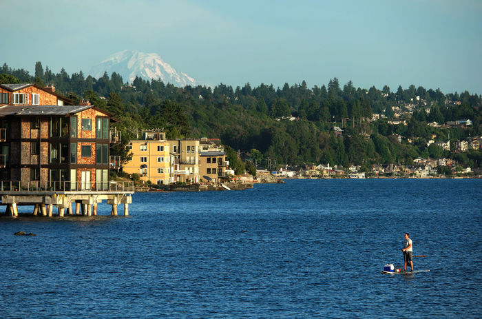 People And Places Adventure Architecture Blue Water Blue Wave Boat Building Exterior Built Structure Eploring Idyllic Idyllic City Alternative Fitness Kayaking Nature Nautical Nautical Vessel Outdoors Paddleboarding Paddling Residential District Residential Structure Seascape Seattle's Best Water Waterfront