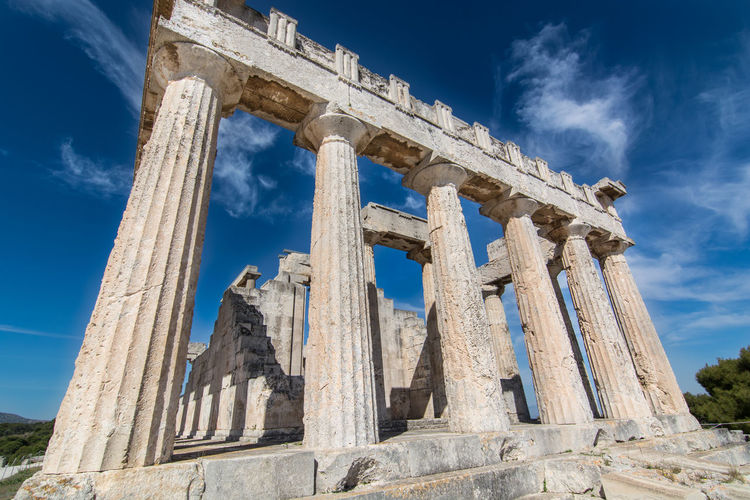 Low angle view of ancient greek temple