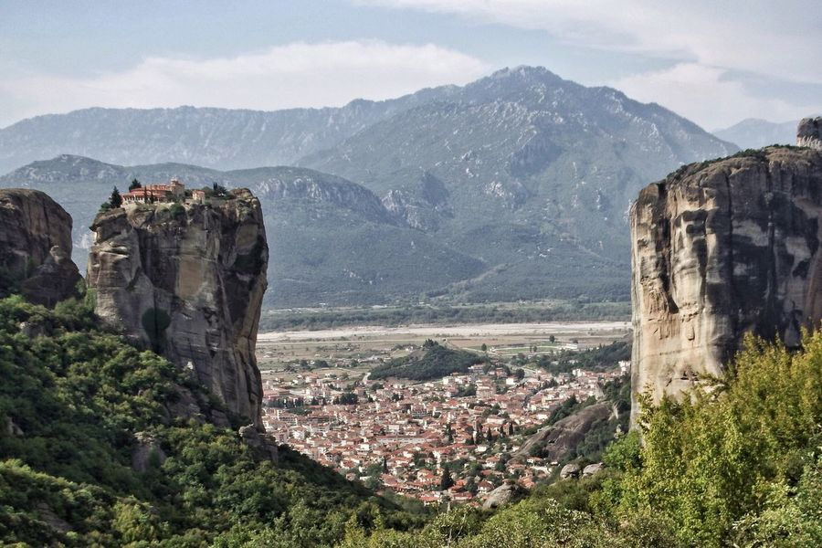 Mountain Built Structure Architecture Mountain Range Building Exterior Town Scenics Sky History Old Ruin Outdoors Residential District Beauty In Nature The Past Housing Settlement Nature Day Physical Geography Meteora Historic Monestry Monestary Kalampáka Greece