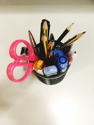 Stationeries Bunch Of Pencils Highlight Pen Job Function Stationery Work Desk Stappler Pen Pencil Scissor Desk Organizer White Background Multi Colored