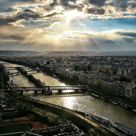 let the sun shine, let the river run. Seine River Paris River Sunset Nature Sky Clouds City Lands Sunshine Eiffel