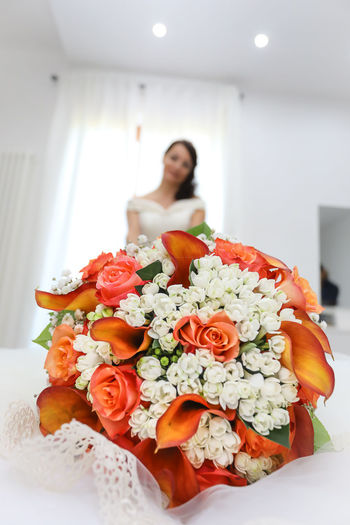 Wedding Wedding Photography Adult Beauty In Nature Bouquet Flower Flower Arrangement Flower Head Flowering Plant Focus On Foreground Freshness Front View Indoors  Lifestyles One Person Plant Portrait Real People Vulnerability  Women Young Adult