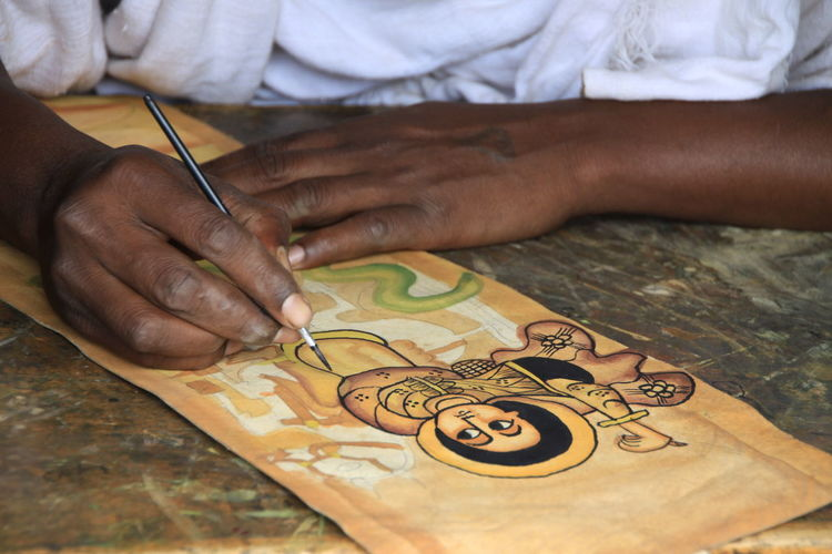 Pergament Leather Painting Icon Religious  Hands Coloring Souvenir Gift Shop Ethiopia Lalibela World Cultural Heritage Tourist Attraction  Human Hand Art And Craft Creativity Human Body Part Occupation Skill  Working Table Close-up