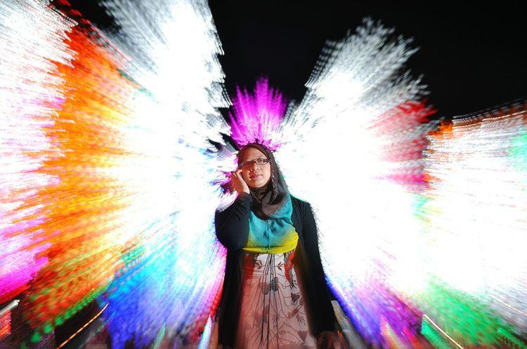 Getting Creative Zoom Burst Portrait Of A Friend Portrait Night Photography Night Lights Led Lights