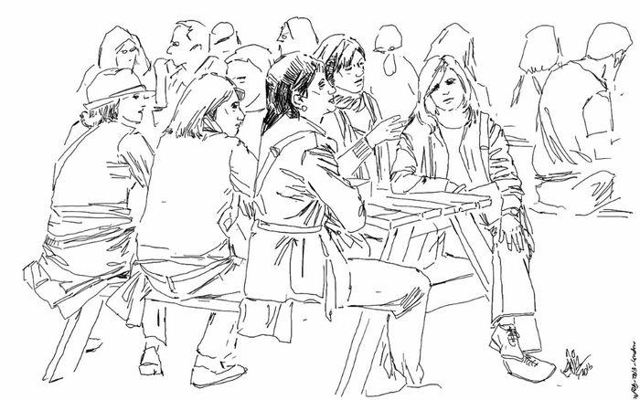Friends People Fun Drinking Pub Sketch Kaay