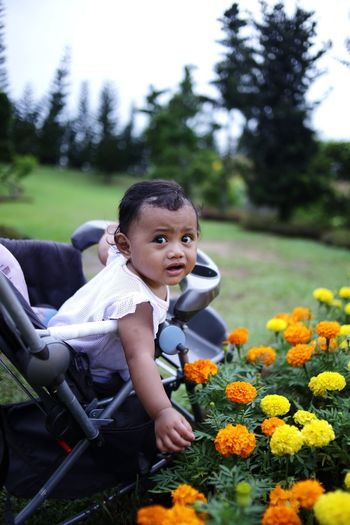 Full length of girl with flowers in park