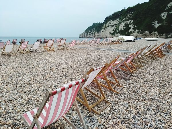 deck chairs Pebbles Shingle Deck Chair Beach Sand Sky